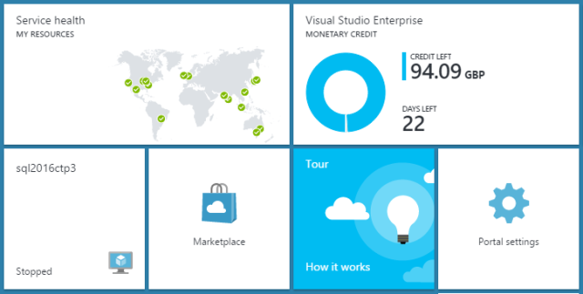 Using the new Azure Dashboard favourites and tiles | tenbulls co uk